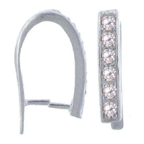 Bails. Sterling Silver 3.2mm Width by 18.1mm Length by 10.2mm Height, Pinch Bail with Six 2.0mm Width / Length CZ along front. Quantity per pack - 2 Pieces.