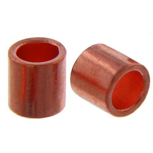Crimps & Crimp Covers. Copper 1.0mm Width by 1.8mm Length, Plain Crimp Tube Beads. Quantity Per Pack: 100 Pieces.
