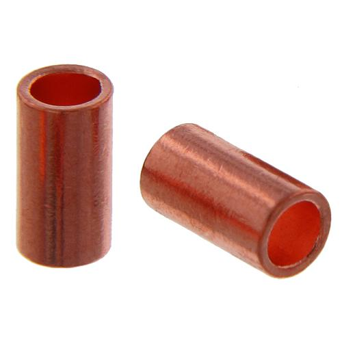 Crimps & Crimp Covers. Copper 2.9mm Width by 4.0mm Length, Plain Crimp Tube Beads. Quantity Per Pack: 100 Pieces.