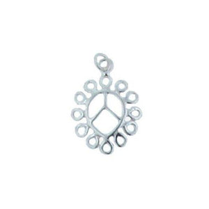 Charms. Sterling Silver 14.9mm Width by 20.6mm Length by 2.0mm Height, Tear Drop Charm With 21.0 Gauge 3.4mm Width / Length, Ring at the Top. Quantity Per Pack: 5 Pieces.