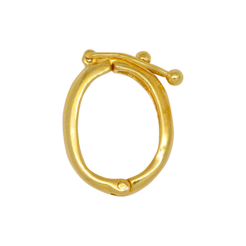 Clasps. Sterling Silver Gold Plated / Vermeil 13.4mm Width by 17.9mm Length by 2.3mm Height Oval Pearl Shortner with 3.1mm Width by 12.2mm Length Safety Lock. Quantity Per Pack: 1 Pieces.