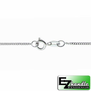 Chain by Clasp. Sterling Silver 1.2mm Width / Length, 16 Inch Flat Regular Curb Chain with 6.0mm Width / Length by 1.4mm Thick, Smooth Spring Ring Clasp. Quantity Per Pack: 1 Piece.
