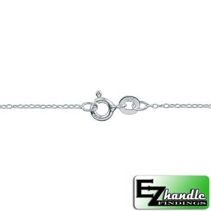 Chain by Clasp. Sterling Silver 1.2mm Width / Length, 16 Inch Round Regular Cable Chain with 6.0mm Width / Length by 1.4mm Thick, Smooth Spring Ring Clasp. Quantity Per Pack: 5 Pieces.