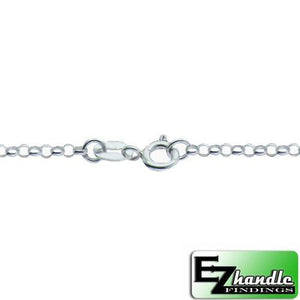 Chain by Clasp. Sterling Silver 2.2mm Width / Length, 22 Inch Flat Regular Rollo Chain with 6.0mm Width / Length by 1.4mm Thick, Smooth Spring Ring Clasp. Quantity Per Pack: 1 Piece.