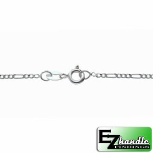 Chain by Clasp. Sterling Silver 1.7mm Width / Length, 20 Inch Flat Regular Figaro Chain with 6.0mm Width / Length by 1.4mm Thick, Smooth Spring Ring Clasp. Quantity Per Pack: 5 Pieces.