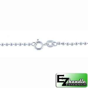 Chain by Clasp. Sterling Silver 1.2mm Width / Length, 20 Inch Regular Round Ball Chain with 6.0mm Width / Length by 1.4mm Thick, Smooth Spring Ring Clasp. Quantity Per Pack: 1 Piece.