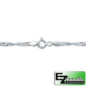 Chain by Clasp. Sterling Silver 2.0mm Width / Length, 18 Inch Flat Regular Disco Chain with 6.0mm Width / Length by 1.4mm Thick, Smooth Spring Ring Clasp. Quantity Per Pack: 5 Pieces.