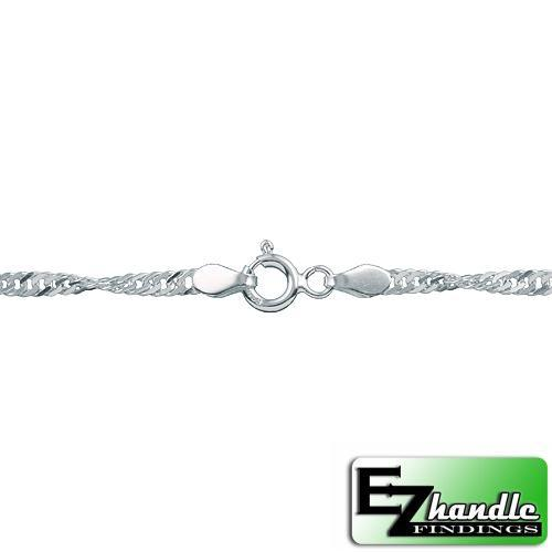 Chain by Clasp. Sterling Silver 2.0mm Width / Length, 20 Inch Flat Regular Disco Chain with 6.0mm Width / Length by 1.4mm Thick, Smooth Spring Ring Clasp. Quantity Per Pack: 5 Pieces.