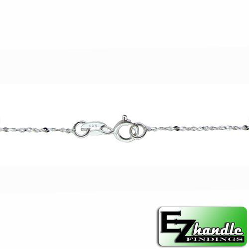 Chain by Clasp. Sterling Silver 1.2mm Width / Length, 20 Inch Twisted Regular Serpentine Chain with 6.0mm Width / Length by 1.4mm Thick, Smooth Spring Ring Clasp. Quantity Per Pack: 5 Pieces.