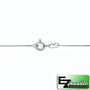 Chain by Clasp. Sterling Silver 0.75 mm Width / Length, 16 Inch Round Regular Beading Chain with 6.0mm Width / Length by 1.4mm Thick, Smooth Spring Ring Clasp. Quantity Per Pack: 5 Pieces.
