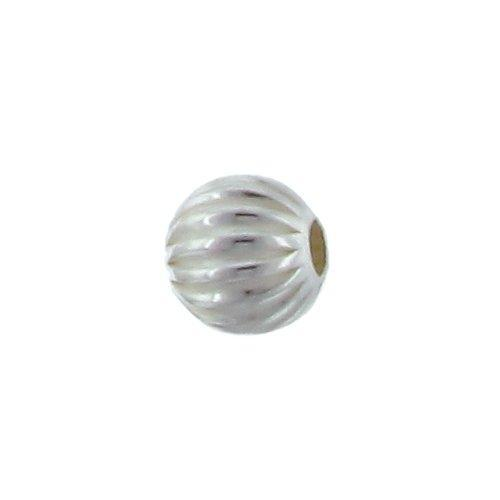 Beads. Sterling Silver 10.0mm Width / Length / Height Seamless Corrugated Round Bead. Quantity per pack: 4 Pieces.