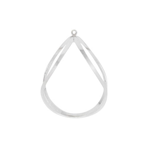Dangles & Drops. Sterling Silver 12.6mm Width by 27.5mm Length by 38.4mm Height, Tear Drop with 2.5mm Width / Length Close Ring at the Top and Inside of the Tear Drop. Quantity per pack: 1 Pieces.