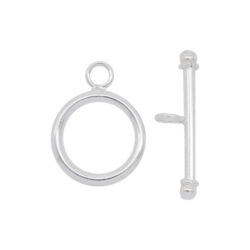 Clasps. Sterling Silver 12.0 Gauge, 15.95mm Width / Length, Smooth Circle Toggle Clasp Ring, With 1.95mm Width by 25.00mm Length Toggle Clasp Bar, Smooth Circle Toggle Clasp. Quantity Per Pack: 4 Pairs.