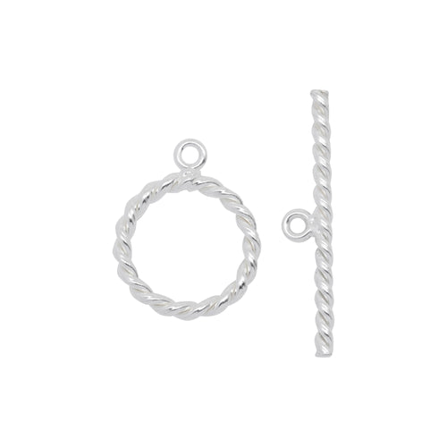 Clasps. Sterling Silver 13.0 Gauge, 13.4mm Width / Length, Twisted Circle Toggle Clasp Ring, With 1.7mm Width by 25.0mm Length Toggle Clasp Bar, Twisted Circle Toggle Clasp. Quantity Per Pack: 10 Pairs.