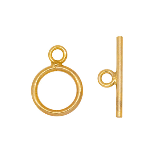 Clasps. 14kt Gold Filled 16.0 Gauge, 9.5mm Width / Length, Smooth Circle Toggle Clasp Ring, With 17.10mm Length by 1.19mm Thick Toggle Clasp Bar, Smooth Circle Toggle Clasp. Quantity Per Pack: 2 Pairs.