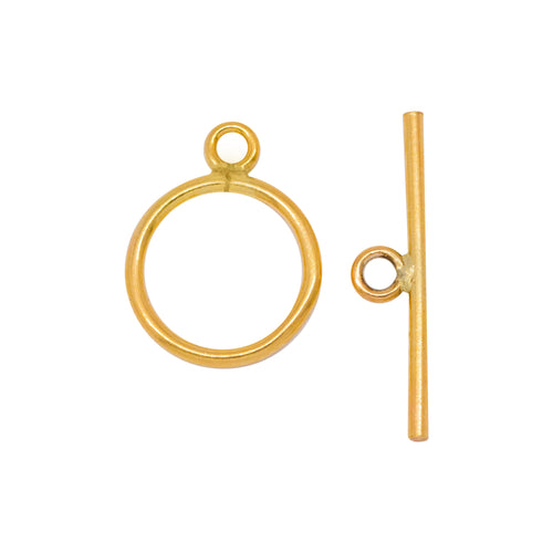 Clasps. 14kt Gold Filled 16.0 Gauge, 12.0mm Width / Length, Smooth Circle Toggle Clasp Ring, With 20.1mm Length by 1.19mm Thick Toggle Clasp Bar, Smooth Circle Toggle Clasp. Quantity Per Pack: 1 Pair.