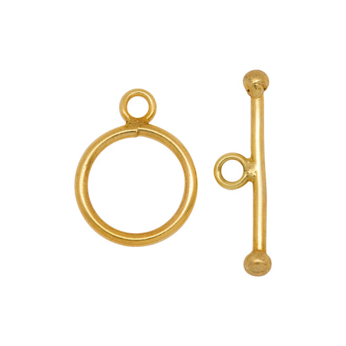 Clasps. 14kt Gold Filled 14.0 Gauge, 14.5mm Width / Length, Smooth Circle Toggle Clasp Ring, With 24.60mm Length by 1.6mm Thick Toggle Clasp Bar, Smooth Circle Toggle Clasp. Quantity Per Pack: 1 Pair.