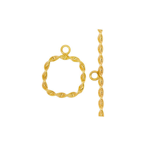 Clasps. 14kt Gold Filled 18.0 Gauge, 16.0mm Width / Length Flat Wire, Twisted SquareToggle Clasp With 32.6mm Length Flat Wire, Twisted Toggle Clasp Bar, Twisted Toggle Clasp. Quantity Per Pack: 2 Pairs.