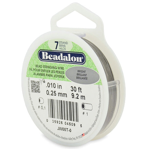 Beading Cords. Beadalon 7 Strand, 0.010 Inch Diameter, 30 Feet Bright Beading Wire. Spools sold per pack - 1 Spool.