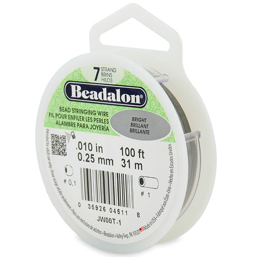 Beading Cords. Beadalon 7 Strand, 0.010 Inch Diameter, 100 Feet Bright Beading Wire. Spools sold per pack - 1 Spool.
