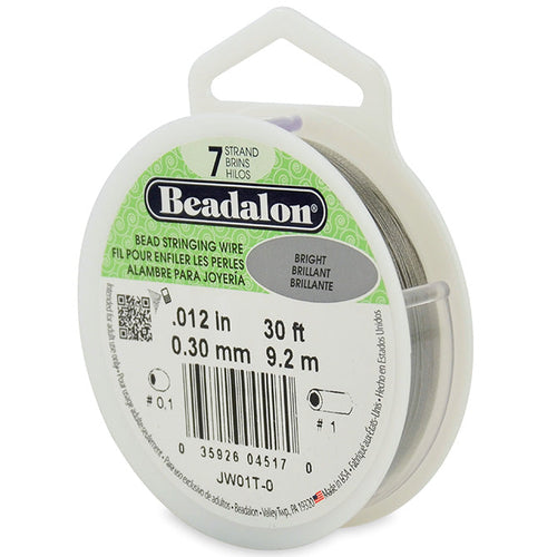 Beading Cords. Beadalon 7 Strand, 0.012 Inch Diameter, 30 Feet Bright Beading Wire. Spools sold per pack - 1 Spool.