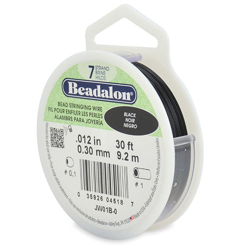 Beading Cords. Beadalon 7 Strand, 0.012 Inch Diameter, 30 Feet Black Beading Wire. Spools sold per pack - 1 Spool.