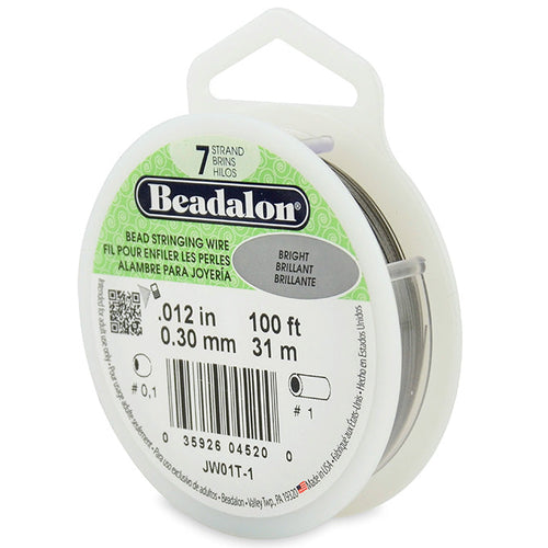 Beading Cords. Beadalon 7 Strand, 0.012 Inch Diameter, 100 Feet Bright Beading Wire. Spools sold per pack - 1 Spool.