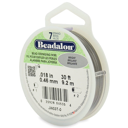 Beading Cords. Beadalon 7 Strand, 0.018 Inch Diameter, 30 Feet Bright Beading Wire. Spools sold per pack - 1 Spool.