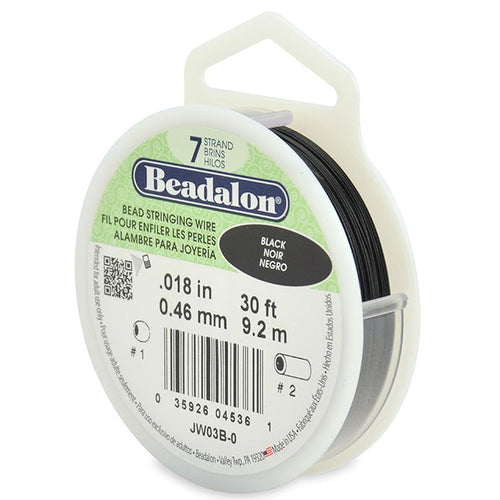 Beading Cords. Beadalon 7 Strand, 0.018 Inch Diameter, 30 Feet Black Beading Wire. Spools sold per pack - 1 Spool.