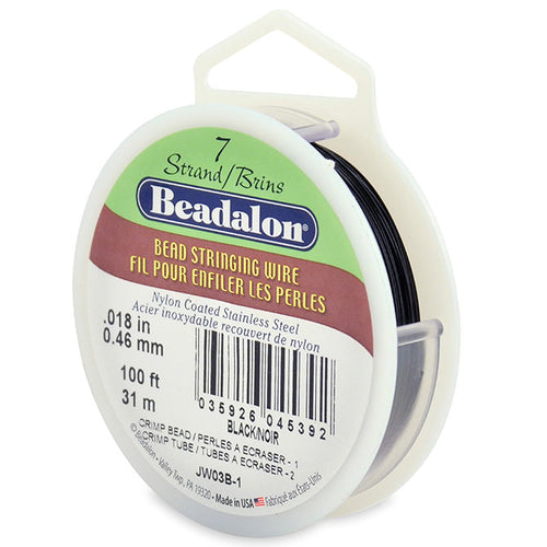 Beading Cords. Beadalon 7 Strand, 0.018 Inch Diameter, 100 Feet Black Beading Wire. Spools sold per pack - 1 Spool.