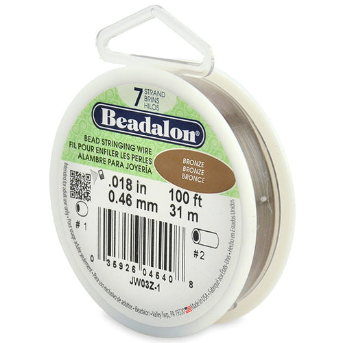 Beading Cords. Beadalon 7 Strand, 0.018 Inch Diameter, 100 Feet Bronze Beading Wire. Spools sold per pack - 1 Spool.