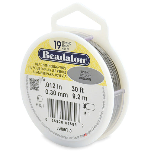 Beading Cords. Beadalon 19 Strand, 0.012 Inch Diameter, 30 Feet Bright Beading Wire. Spools sold per pack - 1 Spool.