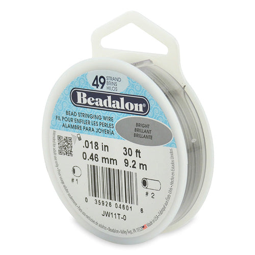 Beading Cords. Beadalon 49 Strand, 0.018 Inch Diameter, 30 Feet Bright Beading Wire. Spools sold per pack - 1 Spool.