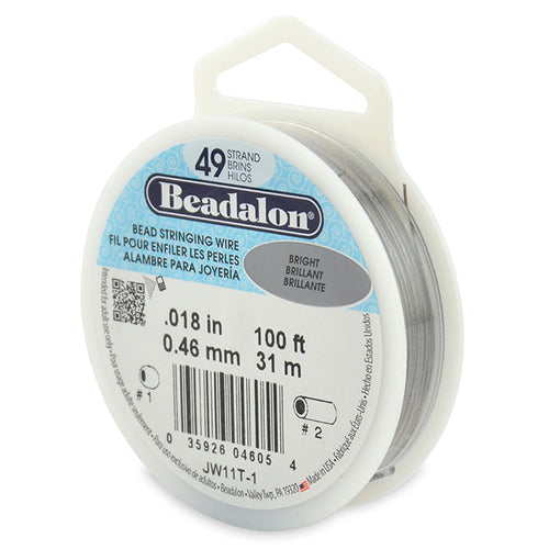 Beading Cords. Beadalon 49 Strand, 0.018 Inch Diameter, 100 Feet Bright Beading Wire. Spools sold per pack - 1 Spool.