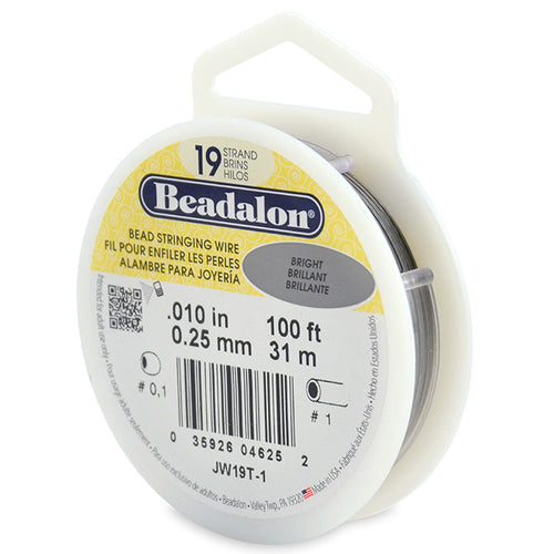 Beading Cords. Beadalon 19 Strand, 0.010 Inch Diameter, 100 Feet Bright Beading Wire. Spools sold per pack - 1 Spool.