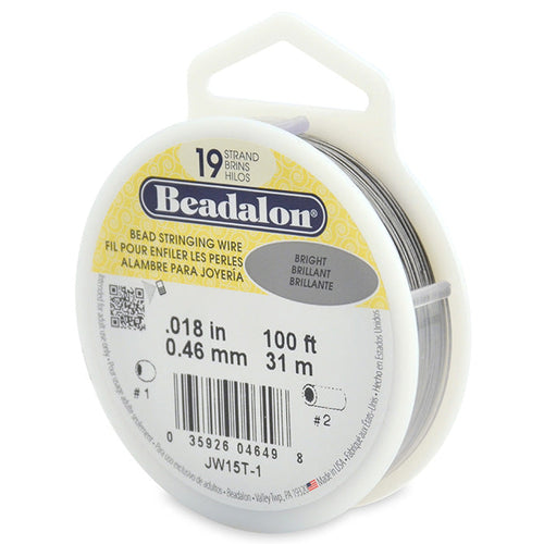 Beading Cords. Beadalon 19 Strand, 0.018 Inch Diameter, 100 Feet Bright Beading Wire. Spools sold per pack - 1 Spool.