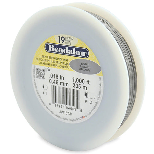 Beading Cords. Beadalon 19 Strand, 0.018 Inch Diameter, 1000 Feet Bright Beading Wire. Spools sold per pack - 1 Spool.