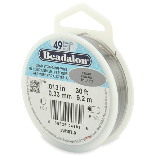 Beading Cords. Beadalon 49 Strand, 0.013 Inch Diameter, 30 Feet Bright Beading Wire. Spools sold per pack - 1 Spool.