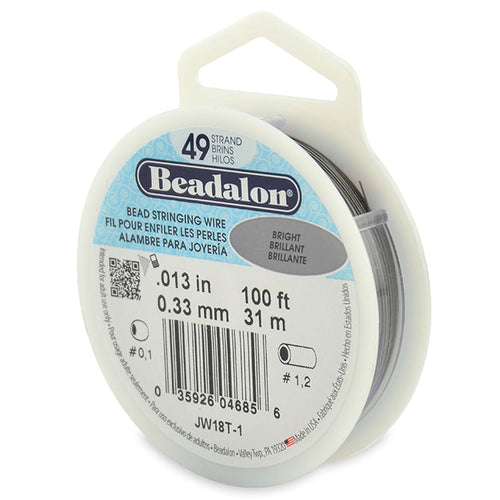 Beading Cords. Beadalon 49 Strand, 0.013 Inch Diameter, 100 Feet Bright Beading Wire. Spools sold per pack - 1 Spool.