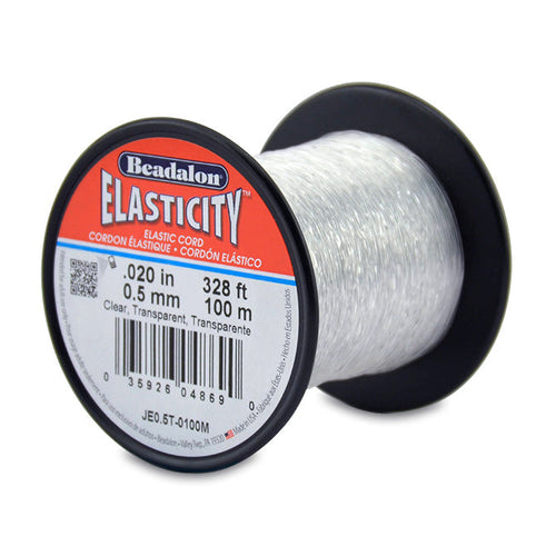 Elasticity Stretch Cords. Beadalon Elasticity, 0.5mm Diameter, 100 Meter Original Stretch Cord. Spools sold per pack - 1 Spool.