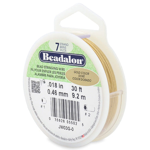Beading Cords. Beadalon 7 Strand, 0.018 Inch Diameter, 30 Feet Gold Beading Wire. Spools sold per pack - 1 Spool.
