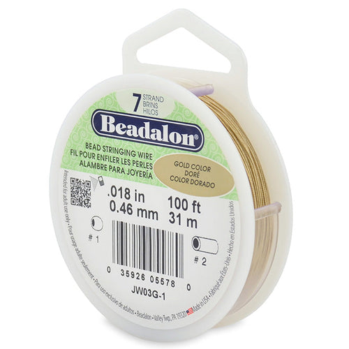 Beading Cords. Beadalon 7 Strand, 0.018 Inch Diameter, 100 Feet Gold Beading Wire. Spools sold per pack - 1 Spool.