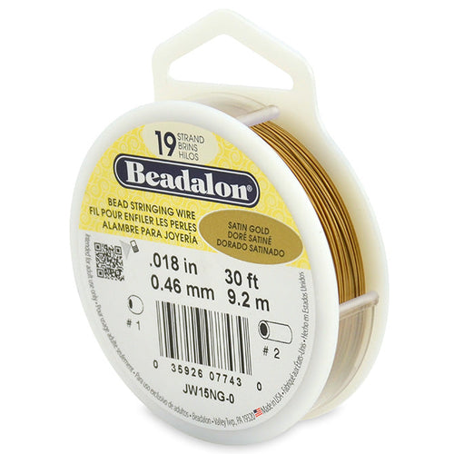 Beading Cords. Beadalon 19 Strand, 0.018 Inch Diameter, 30 Feet Satin Gold Beading Wire. Spools sold per pack - 1 Spool.