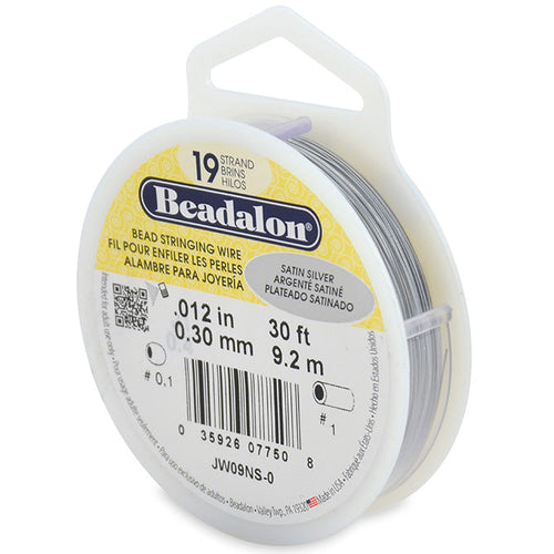 Beading Cords. Beadalon 19 Strand, 0.012 Inch Diameter, 30 Feet Satin Silver Beading Wire. Spools sold per pack - 1 Spool.