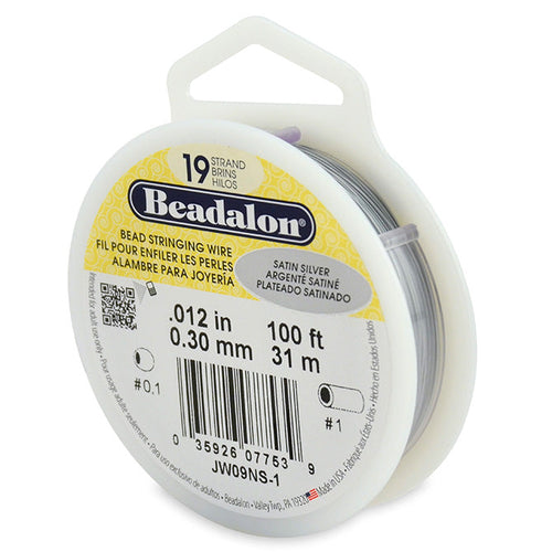 Beading Cords. Beadalon 19 Strand, 0.012 Inch Diameter, 100 Feet Satin Silver Beading Wire. Spools sold per pack - 1 Spool.