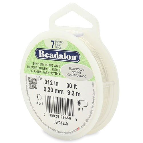 Beading Cords. Beadalon 7 Strand, 0.012 Inch Diameter, 30 Feet Silver Beading Wire. Spools sold per pack - 1 Spool.