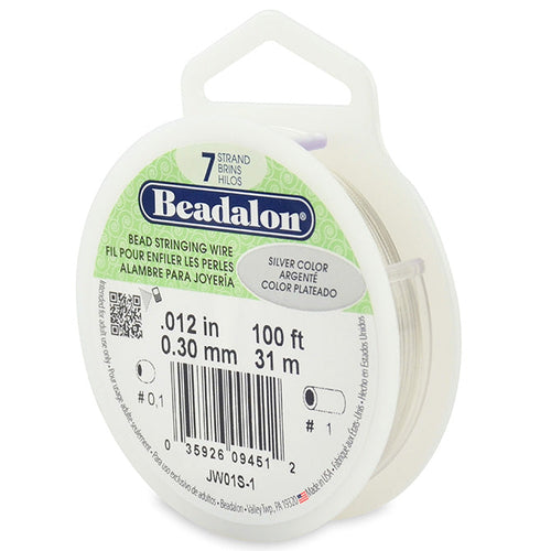 Beading Cords. Beadalon 7 Strand, 0.012 Inch Diameter, 100 Feet Silver Beading Wire. Spools sold per pack - 1 Spool.