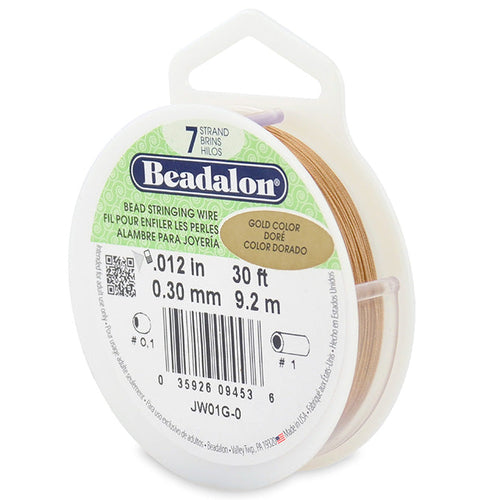 Beading Cords. Beadalon 7 Strand, 0.012 Inch Diameter, 30 Feet Gold Beading Wire. Spools sold per pack - 1 Spool.