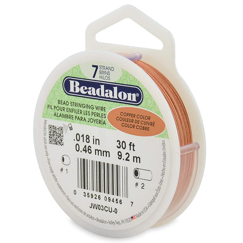 Beading Cords. Beadalon 7 Strand, 0.018 Inch Diameter, 30 Feet Copper Beading Wire. Spools sold per pack - 1 Spool.