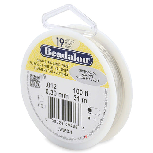 Beading Cords. Beadalon 19 Strand, 0.012 Inch Diameter, 100 Feet Silver Beading Wire. Spools sold per pack - 1 Spool.